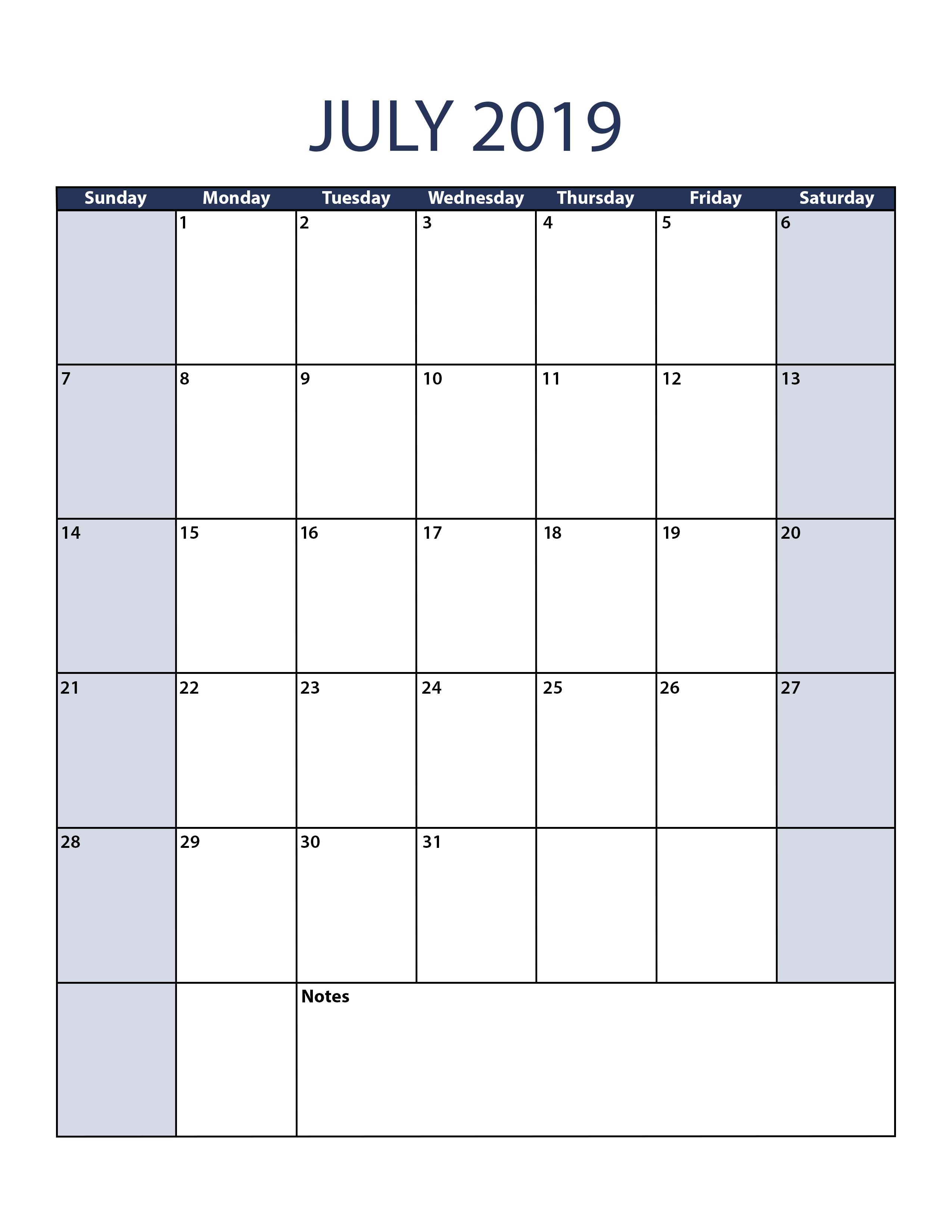 Printable Calendar July 2019 Portrait