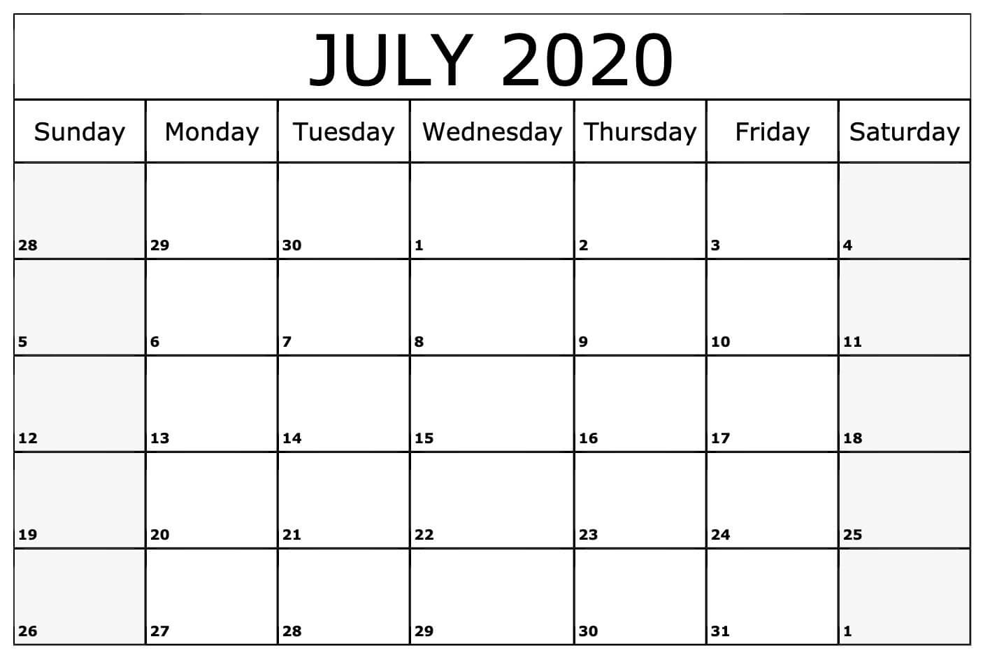 Printable July 2020 Calendar Template