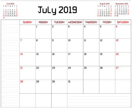 Year 2019 July Planner Template To Do List