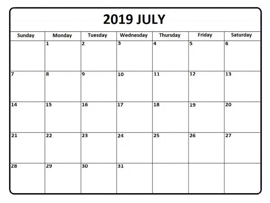 blank printable calendar 2019 july