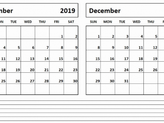 2019 November December Calendar