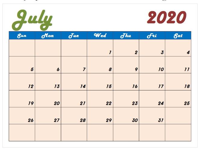 2020 July Calendar Cute