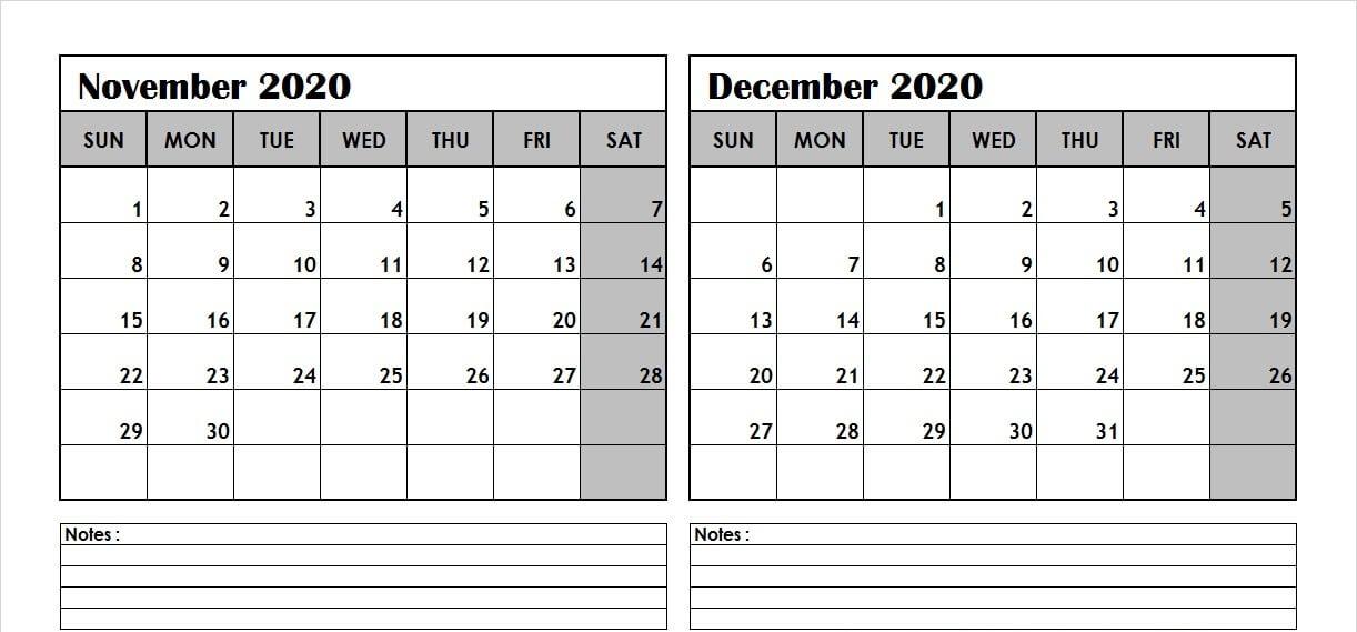 2020 November December Calendar with Notes