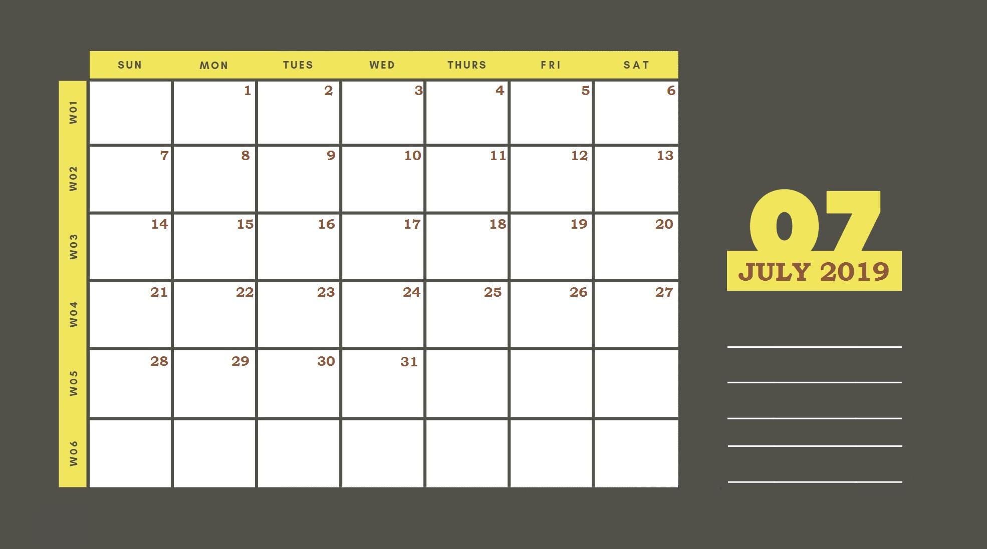 Beautiful July 2019 Printable Calendar Template