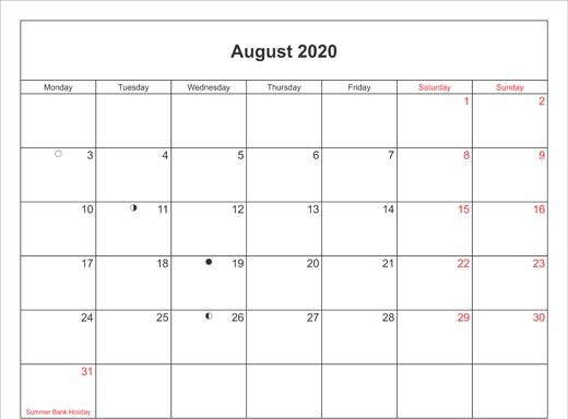 Blank 2020 August Calendar Template
