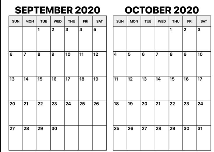 Blank 2020 September October Calendar