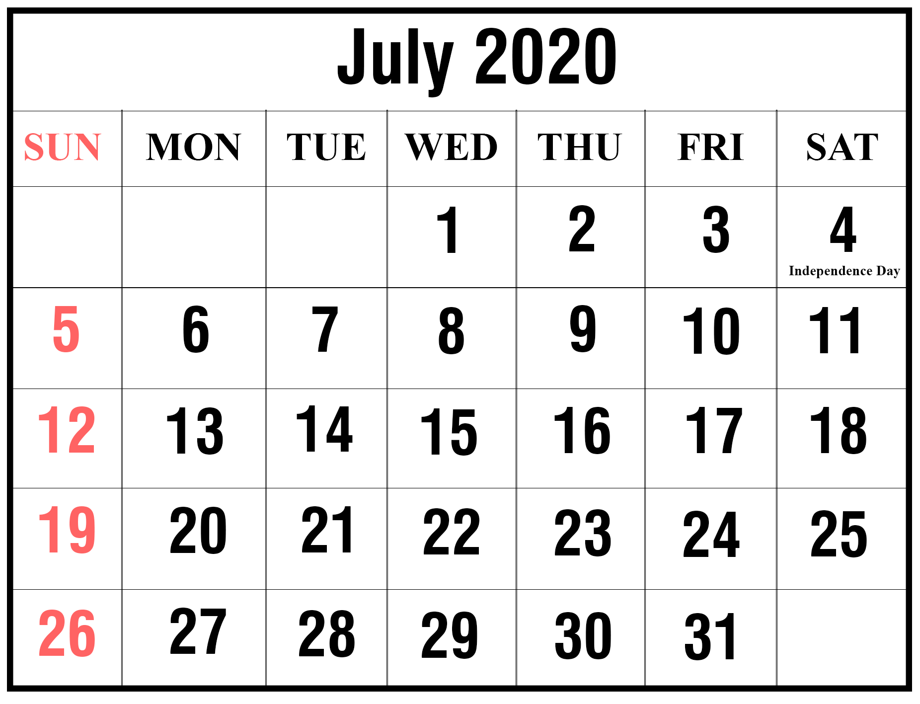 Blank July 2020 Holidays Calendar Moon Template