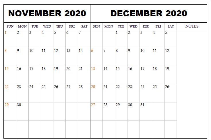 Blank November December 2020 Calendar