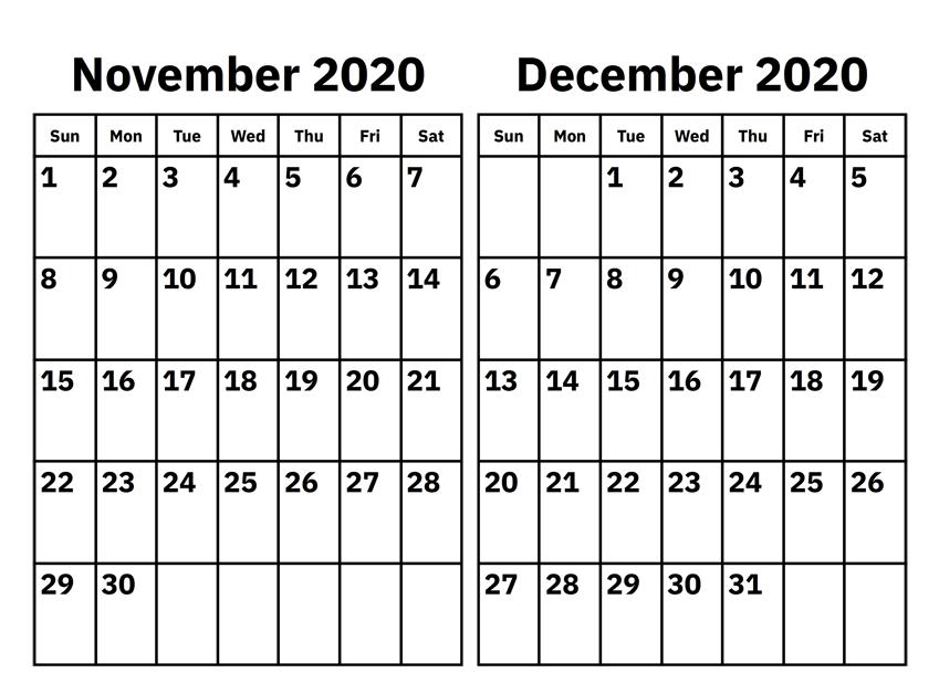 Calendar For November December 2020