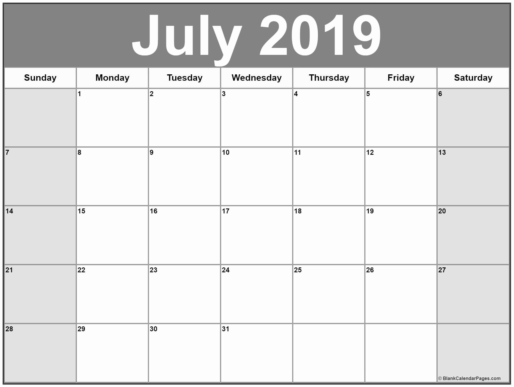 Calendar Of July 2019 Printable