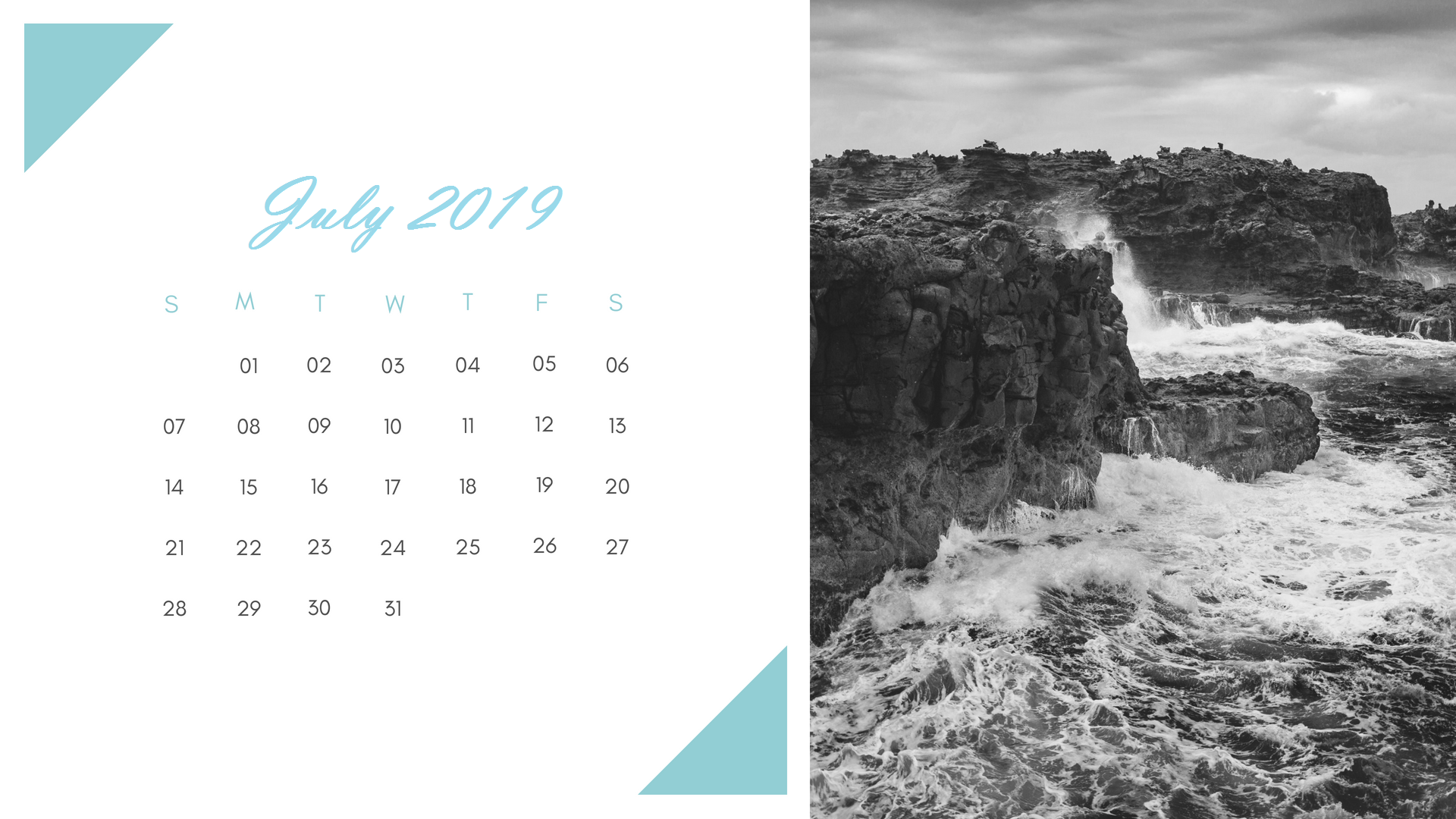 Cute July 2019 Calendar Template