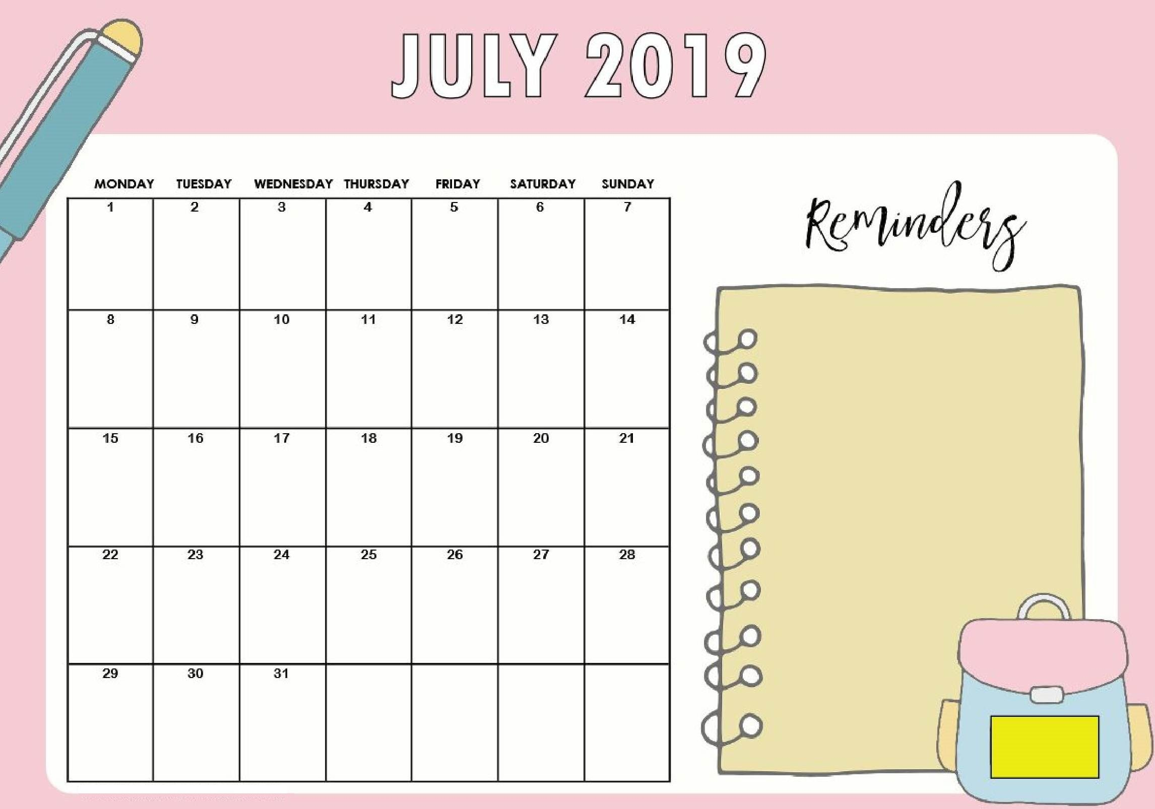 Cute July 2019 Calendar for Kids