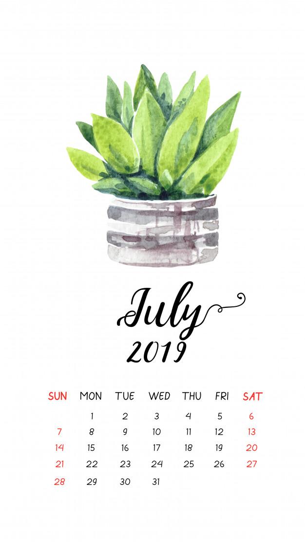 Cute July 2019 Floral Calendar