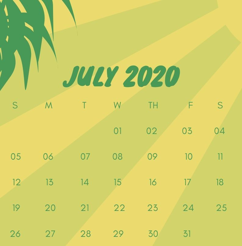 Cute July 2020 Calendar iPhone Wallpaper