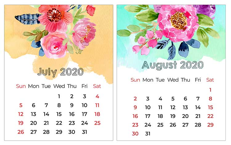 Cute July and August 2020 Calendar Editable