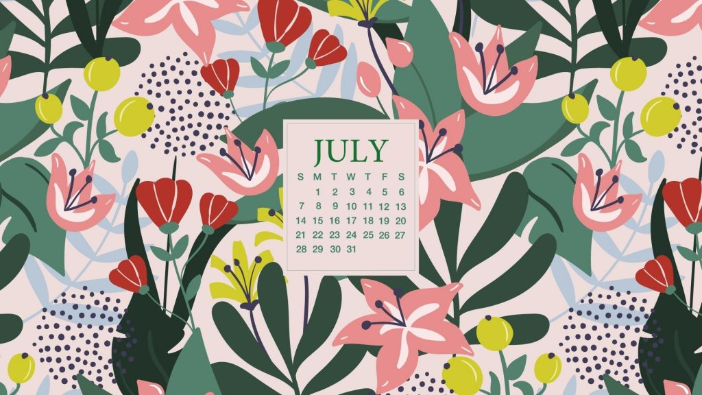Desktop Calendar Wallpaper For July 2020