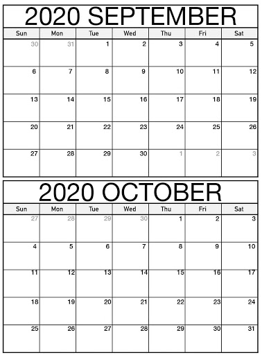 Editable September October 2020 Calendar Printable