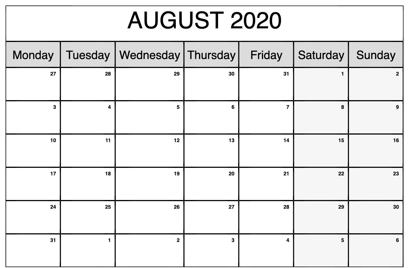 Fillable August 2020 Calendar Blank Template