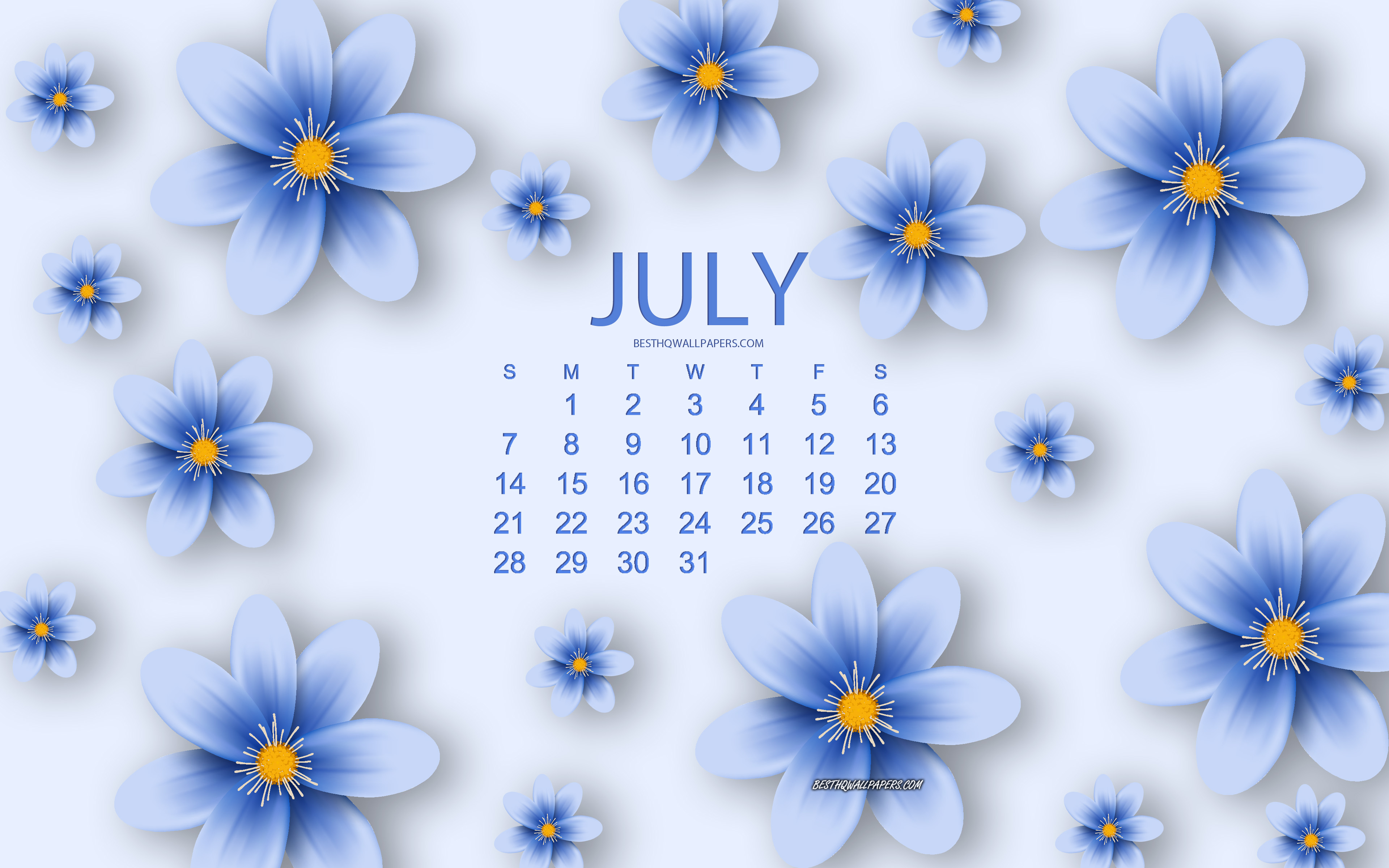 Floral July 2019 Desktop Calendar