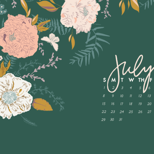 Floral July 2020 iPhone Calendar
