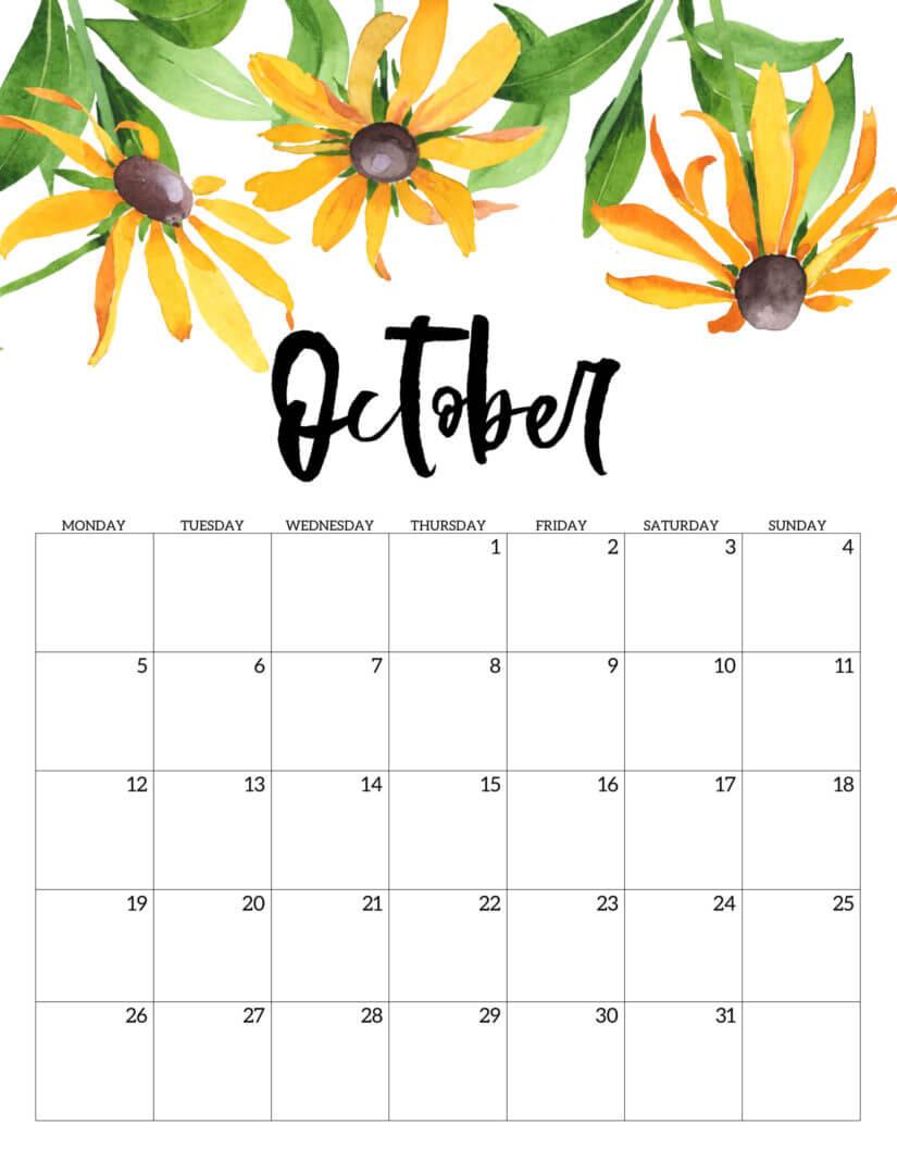 Floral October Calendar 2020 Cute