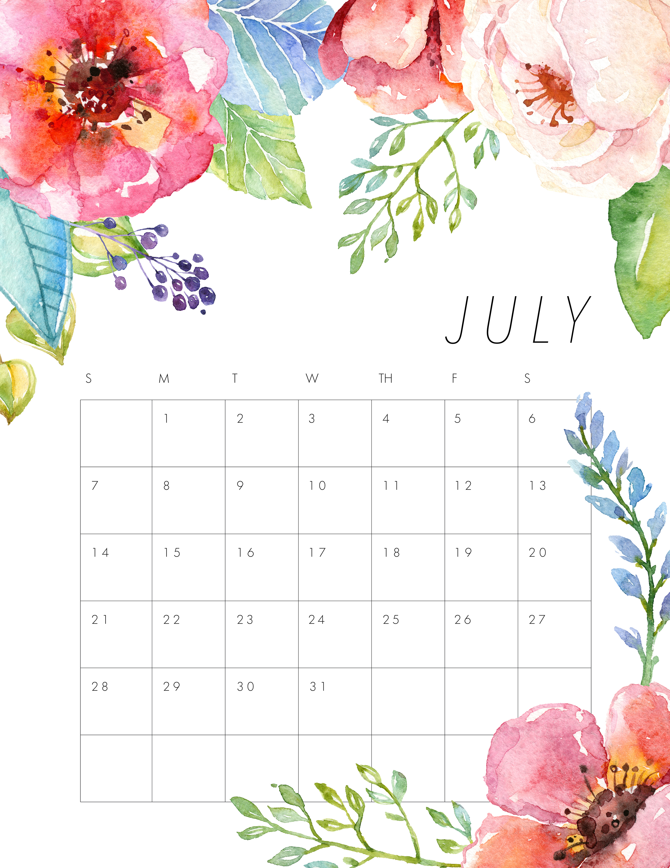 Floral Wall Calendar July 2019