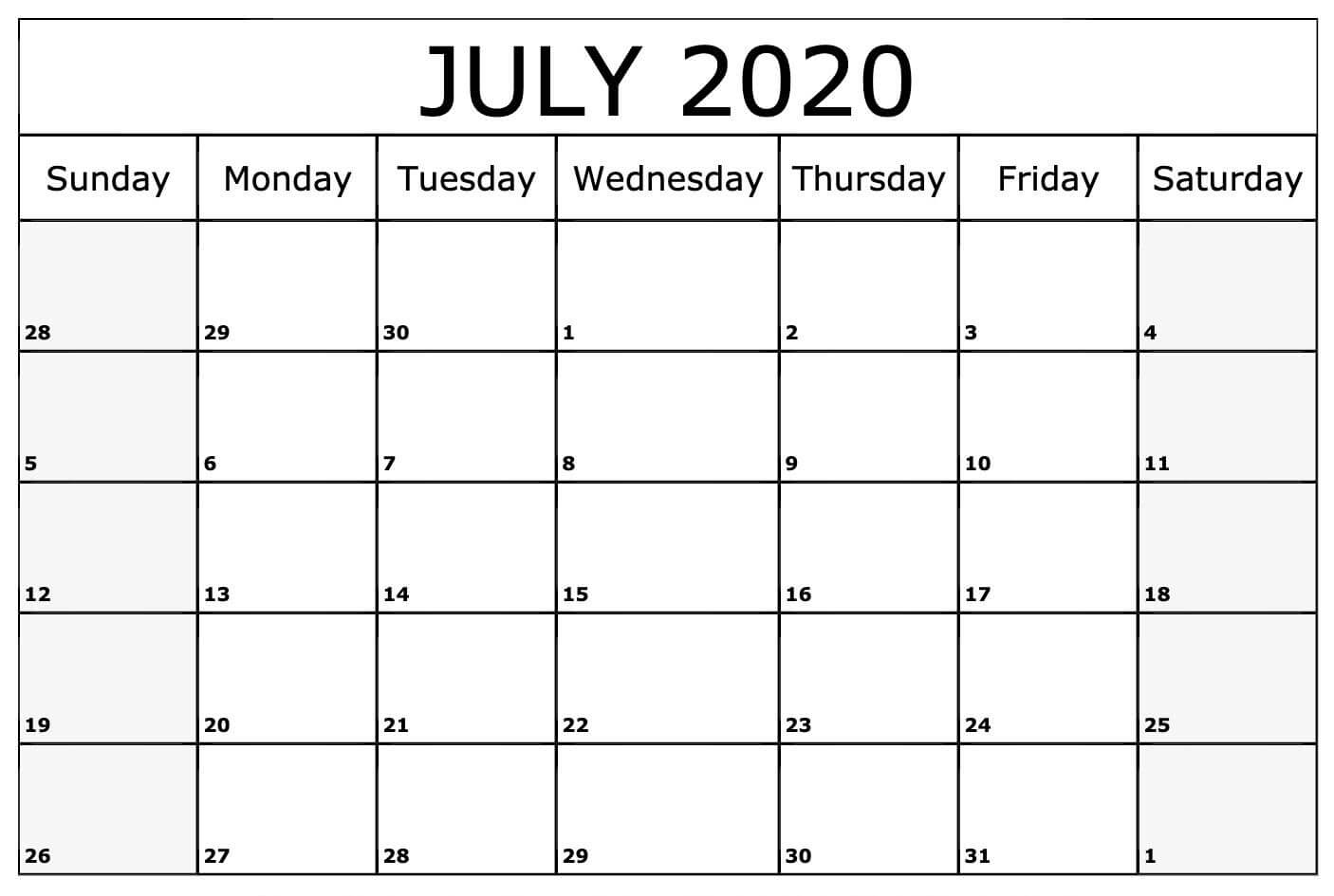 Free July 2020 Printable Calendar Template