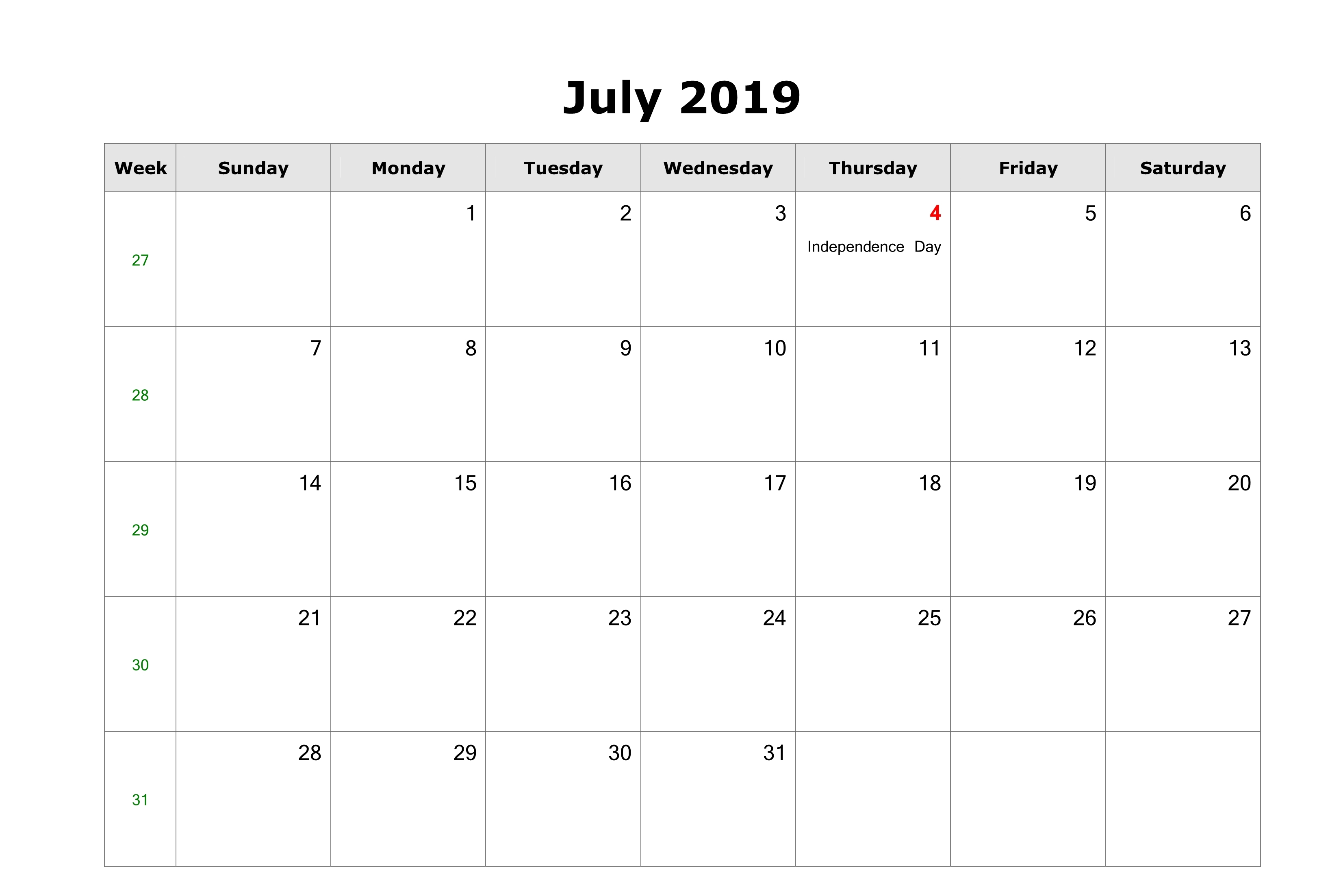 Holidays for July 2019 Calendar Printable Template