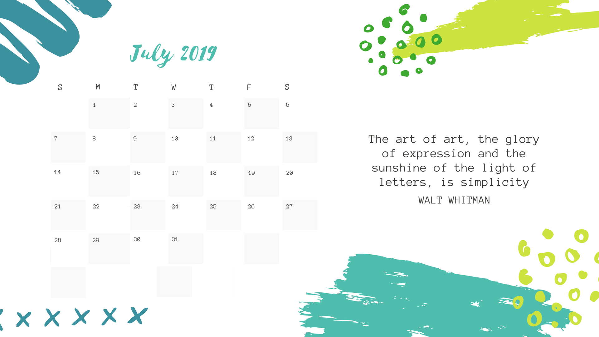 Inspirational July 2019 Calendar Wallpaper