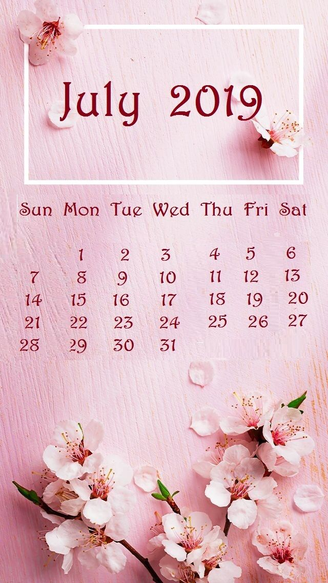 July 2019 Baby pink Background iPhone Calendar