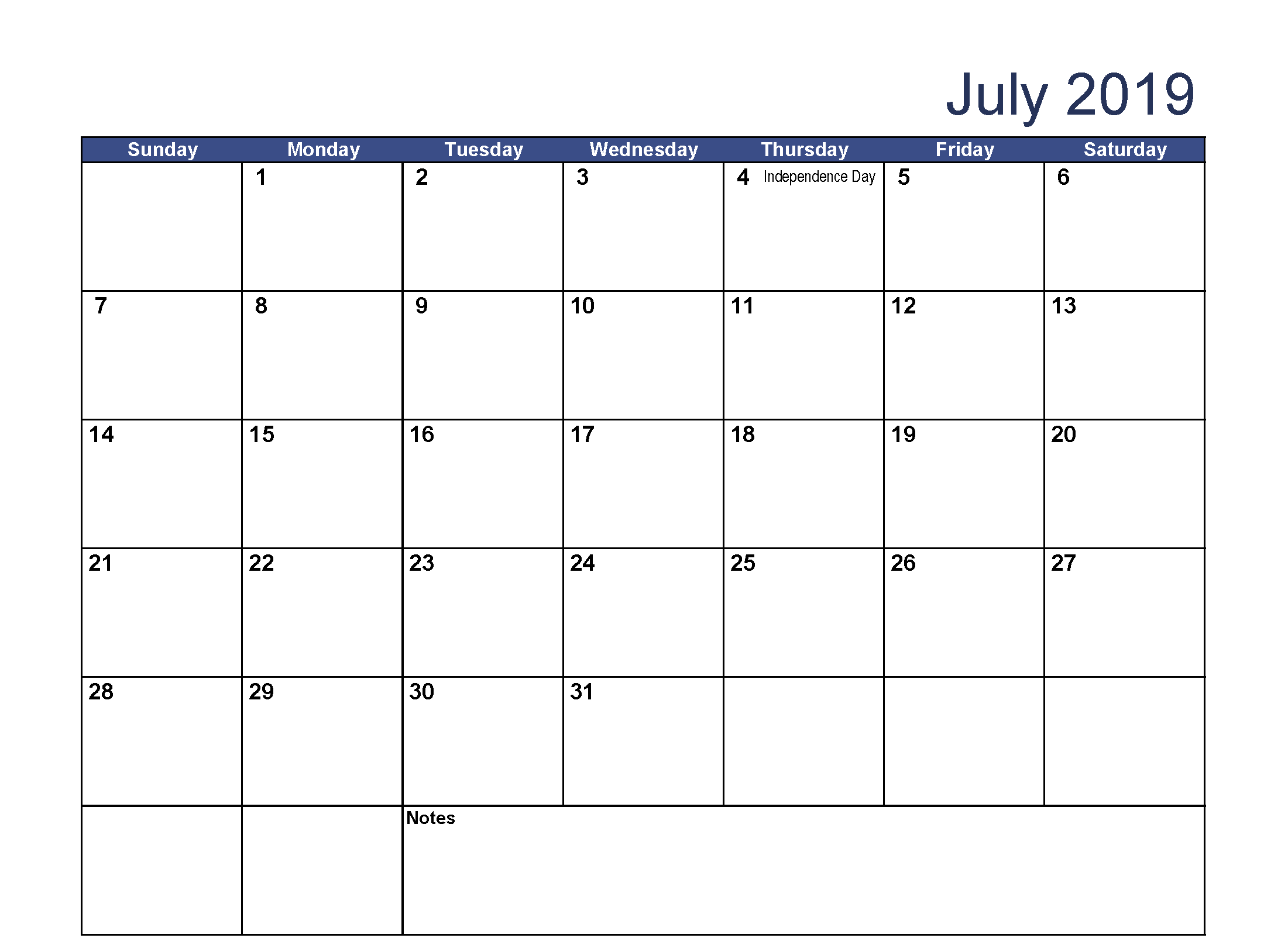 photo about July Calendar Printable named July 2019 Calendar with Holiday seasons Printable - Totally free August