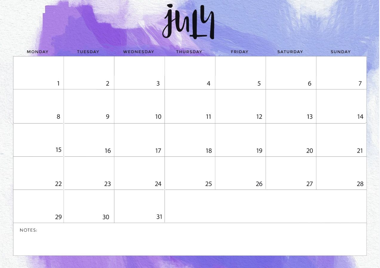 July 2019 Desk Calendar Template