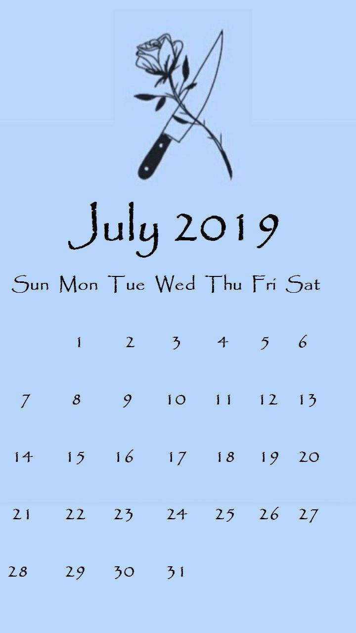 July 2019 iPhone Calendar Wallpapers
