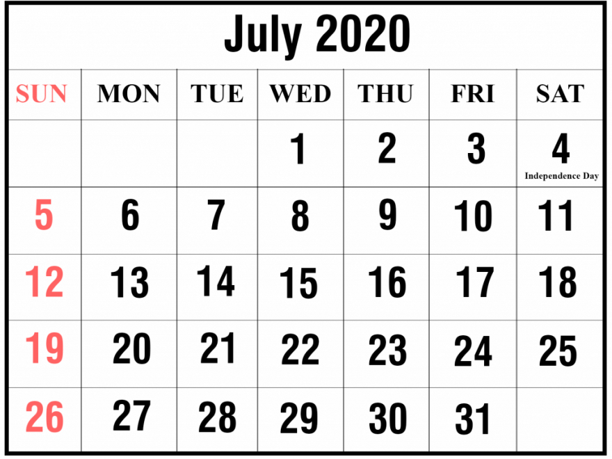 July 2020 Calendar Printable Templates