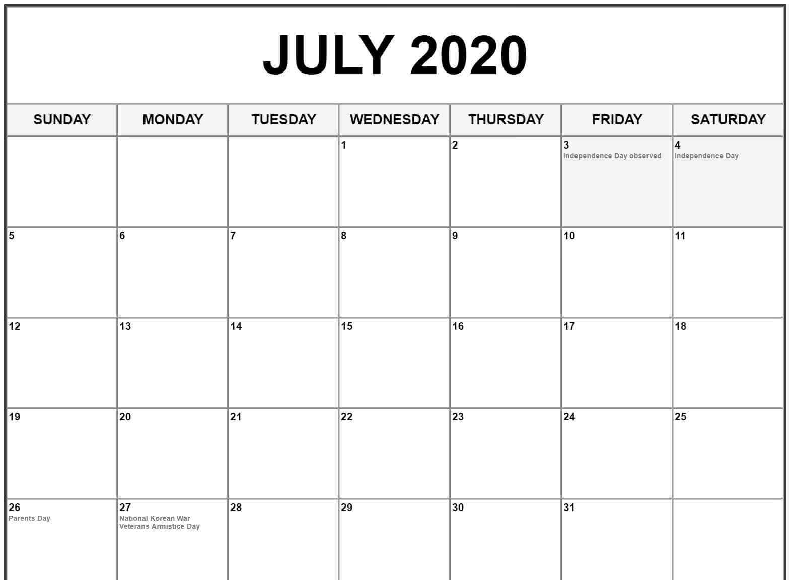 July 2020 Calendar US Holidays
