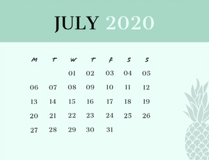 July 2020 Calendar Wallpaper