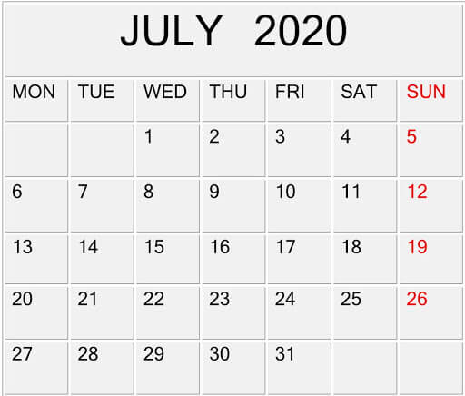 July 2020 Calendar for Word, Excel, PDF