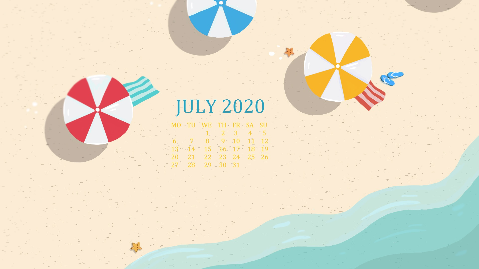 July 2020 Desktop Background Calendar