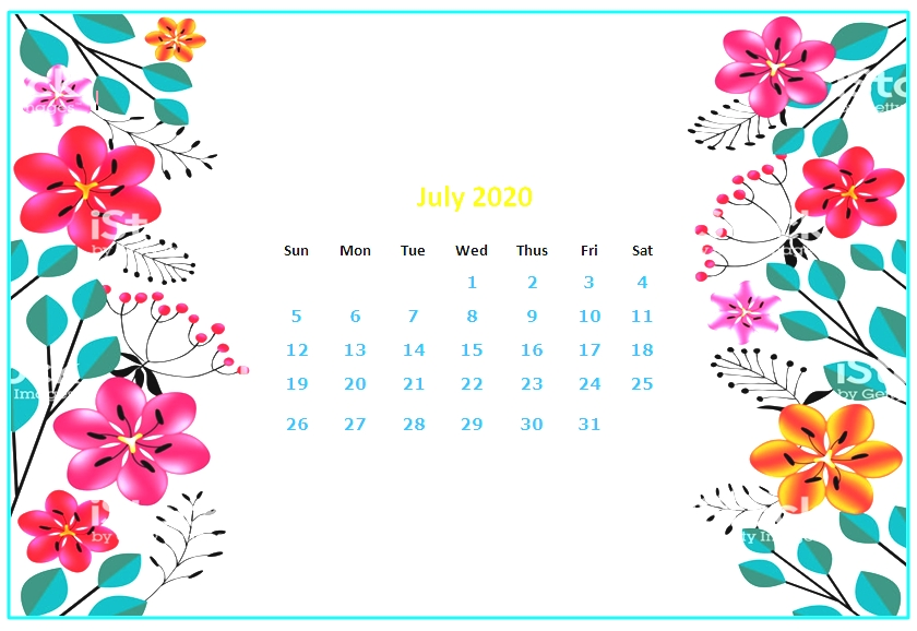 Floral July 2020 Desktop Calendar Wallpaper