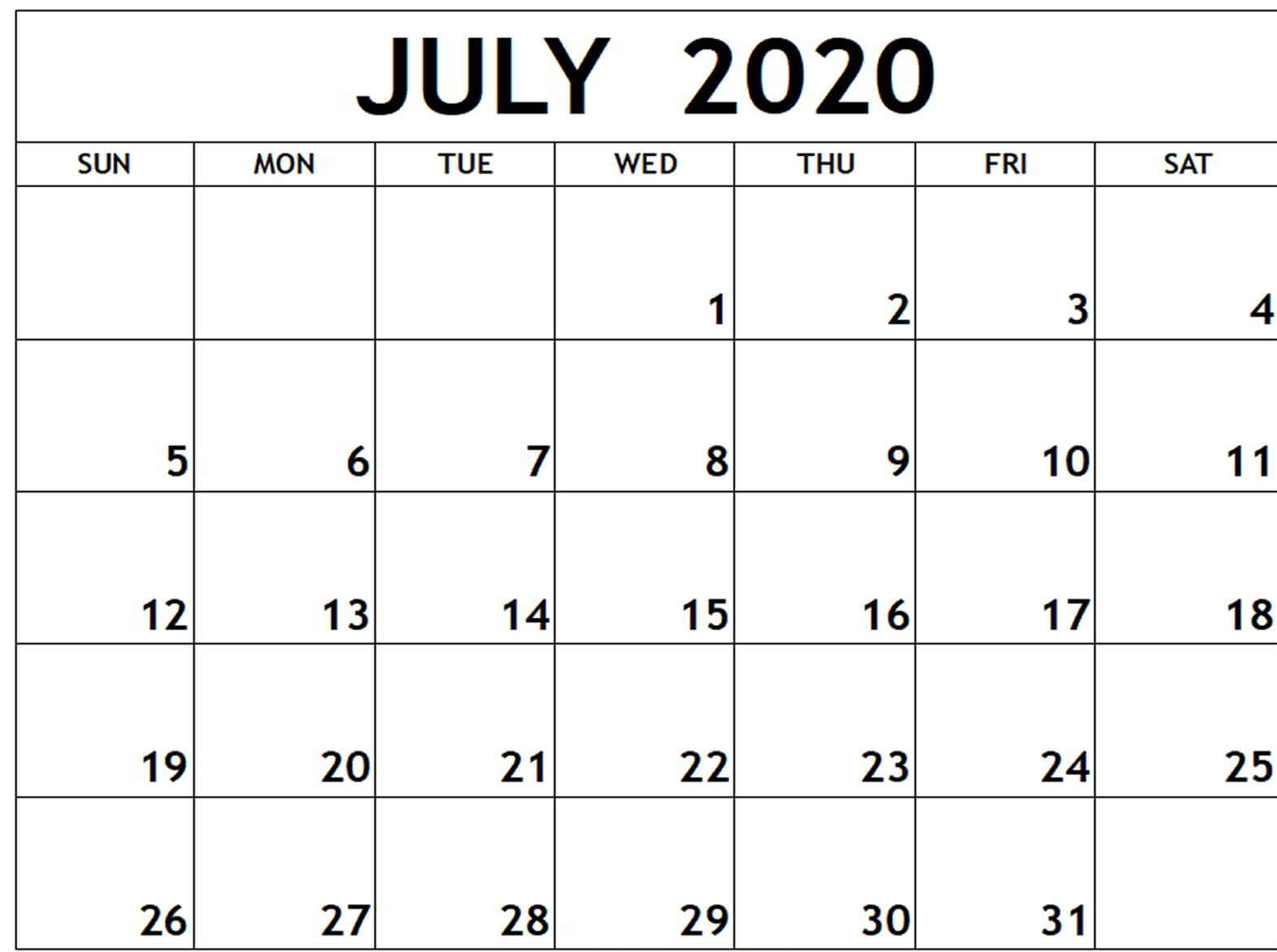 July 2020 Printable Calendar Template