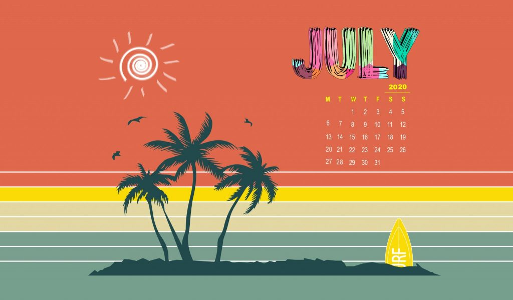 July 2020 Screensaver Calendar