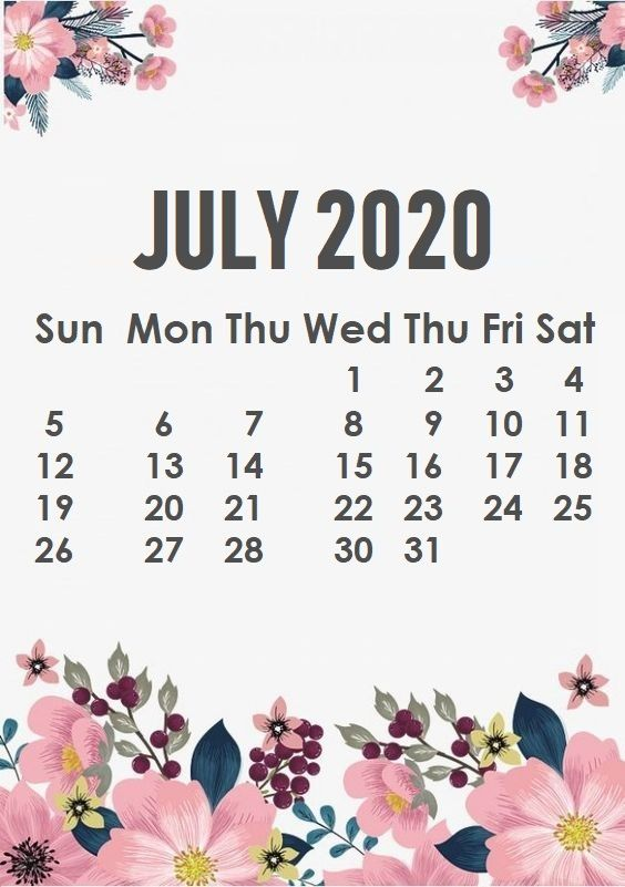 July 2020 iPhone Calendar
