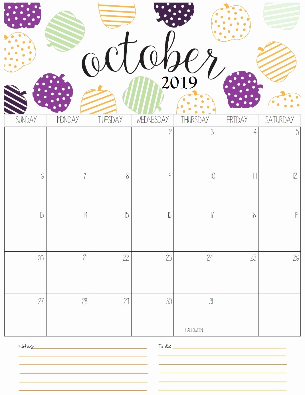 Monthly Blank October 2019 Calendar Download