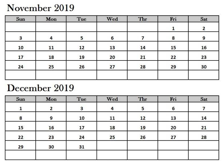 November December 2019 Calendar PDF
