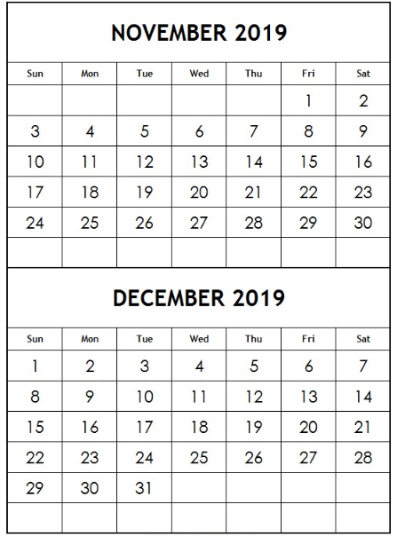 picture about December Printable Calendar Free called November December 2019 Printable Calendar - Cost-free August 2019