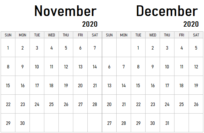 November December 2020 Calendar PDF