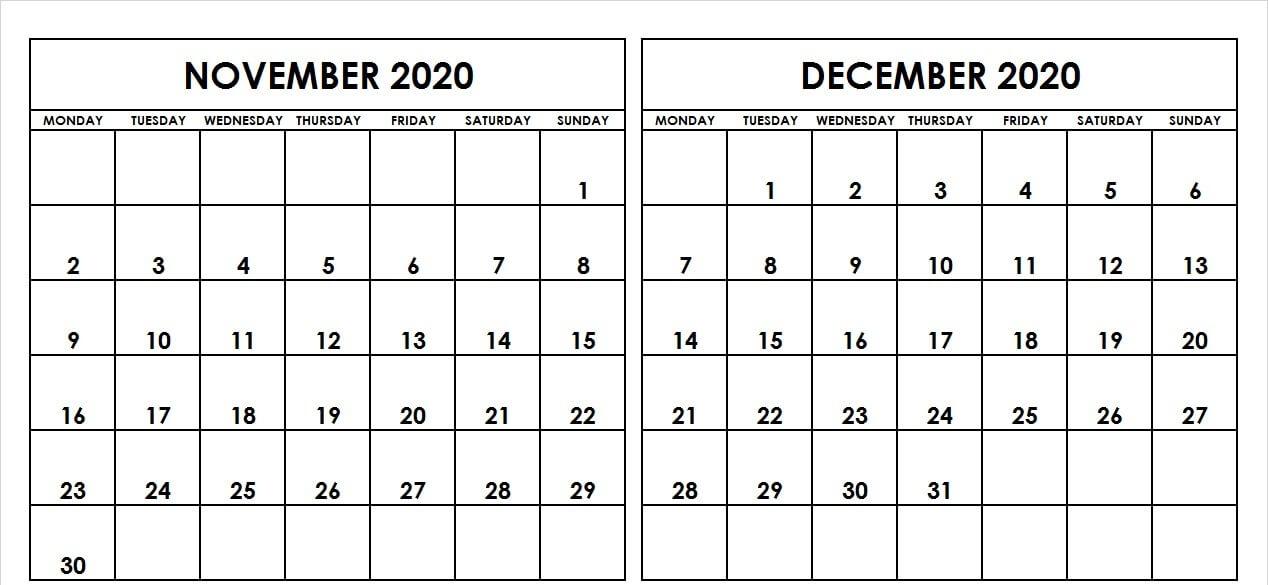 November December 2020 Calendar Template