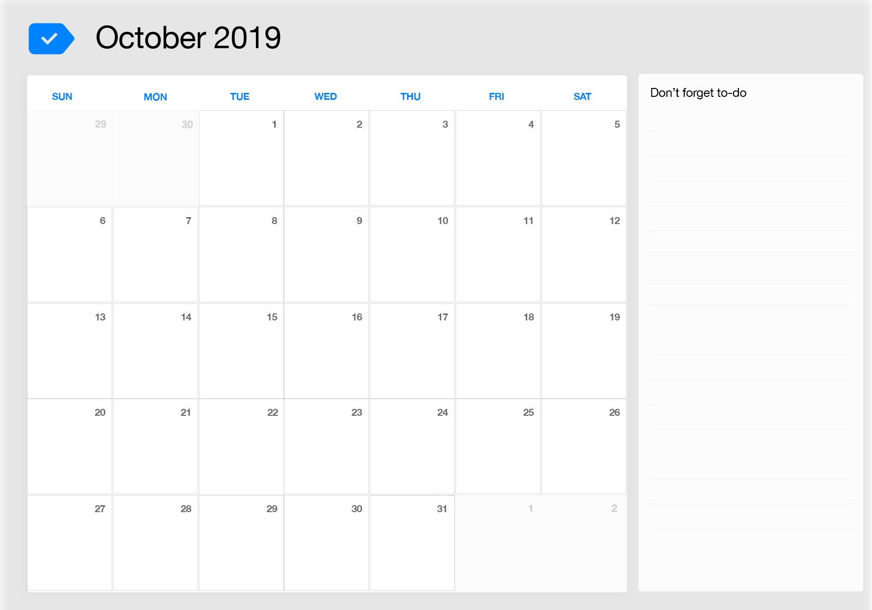 October 2019 free printable calendar to do list