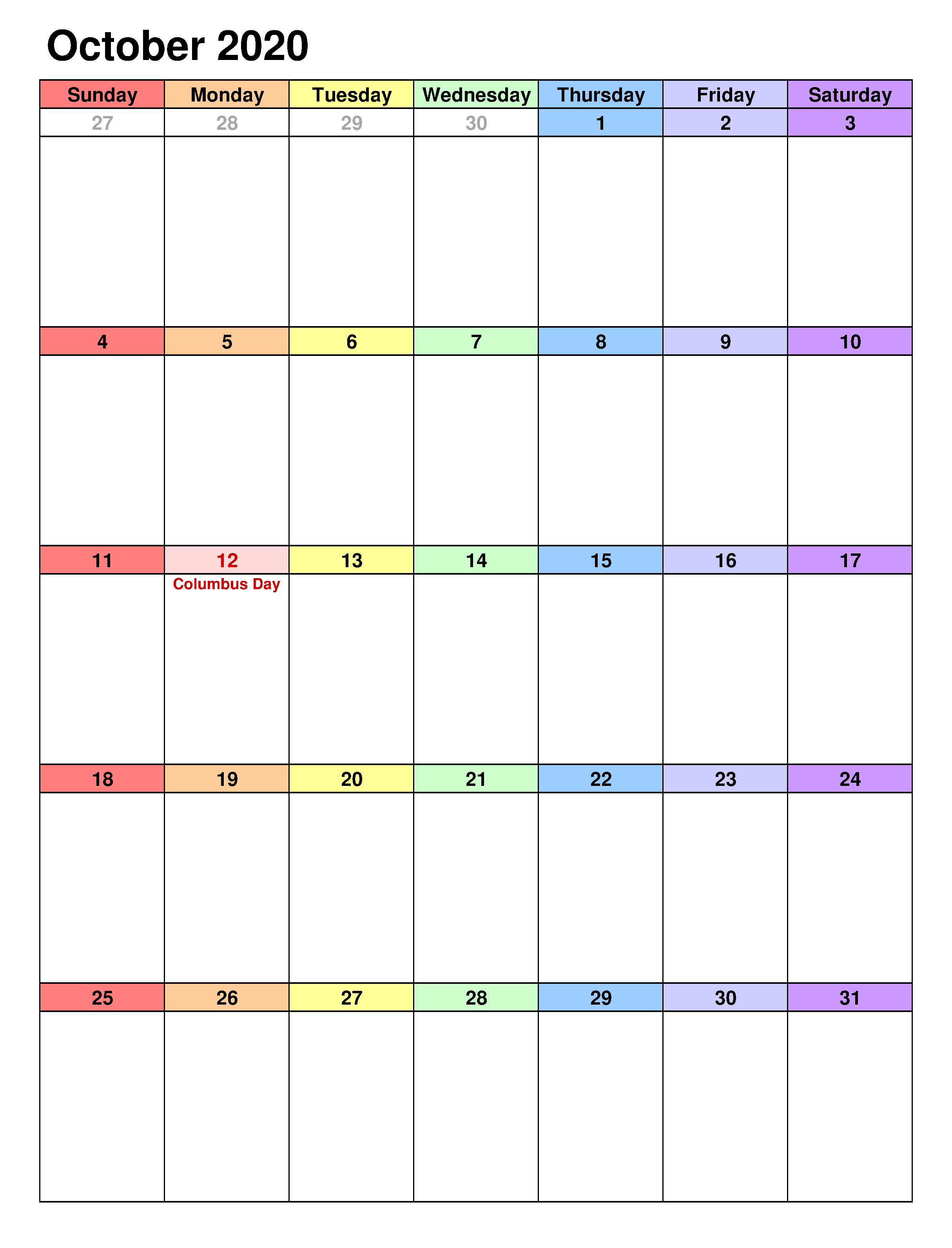 Portrait Calendar For October 2020 Excel