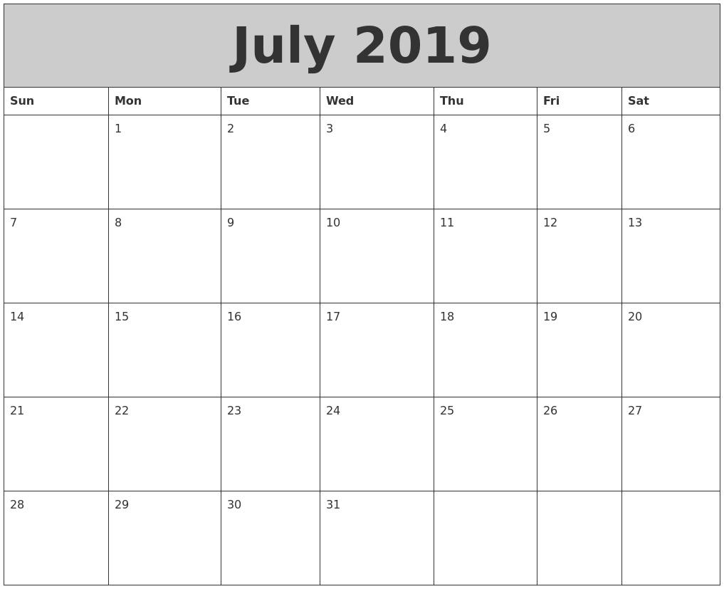 Printable Calendar Template July 2019